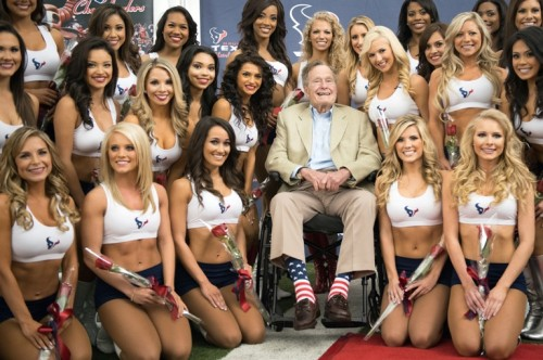Bush 41 with Cheerleaders