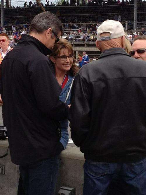 More pictures from today's #Indy500 here's a glimpse of Sarah Palin who was hanging out on pit road