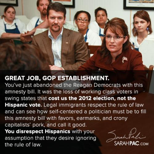 Sarah Palin Good Job GOP Establishment
