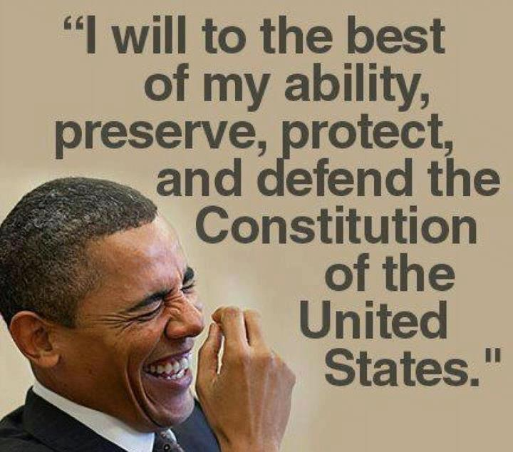 Obama laughing with Constitution quote