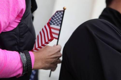 sarah holding flag