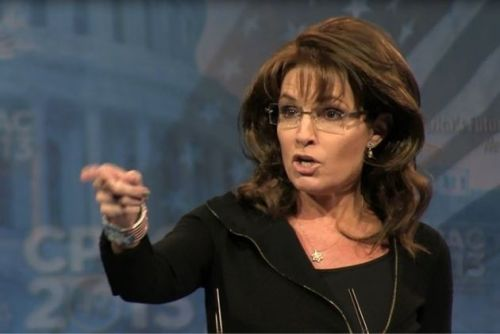 Sarah Palin pointing
