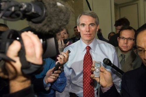 "U.S. Senator Rob Portman departs a meeting with fellow members of the ""super committee"" on Capitol Hill in Washington"