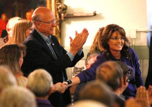 Governor Palin w Pat Roberts Shaking Hands Posing for Photo